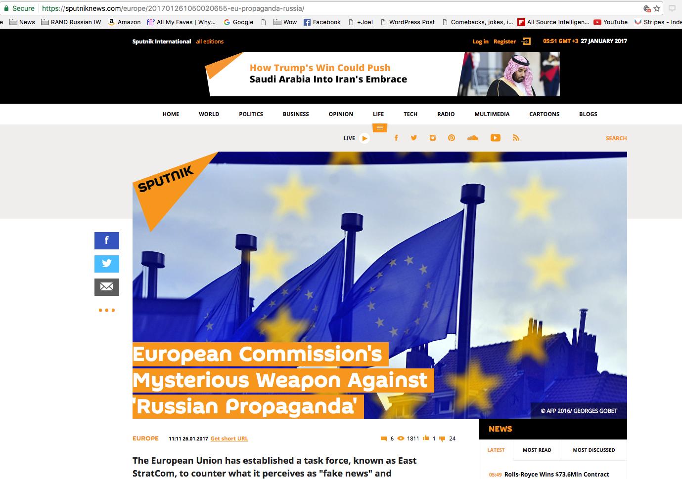 Sputnik Attempts To Belittle The EU East Stratcom Task Force