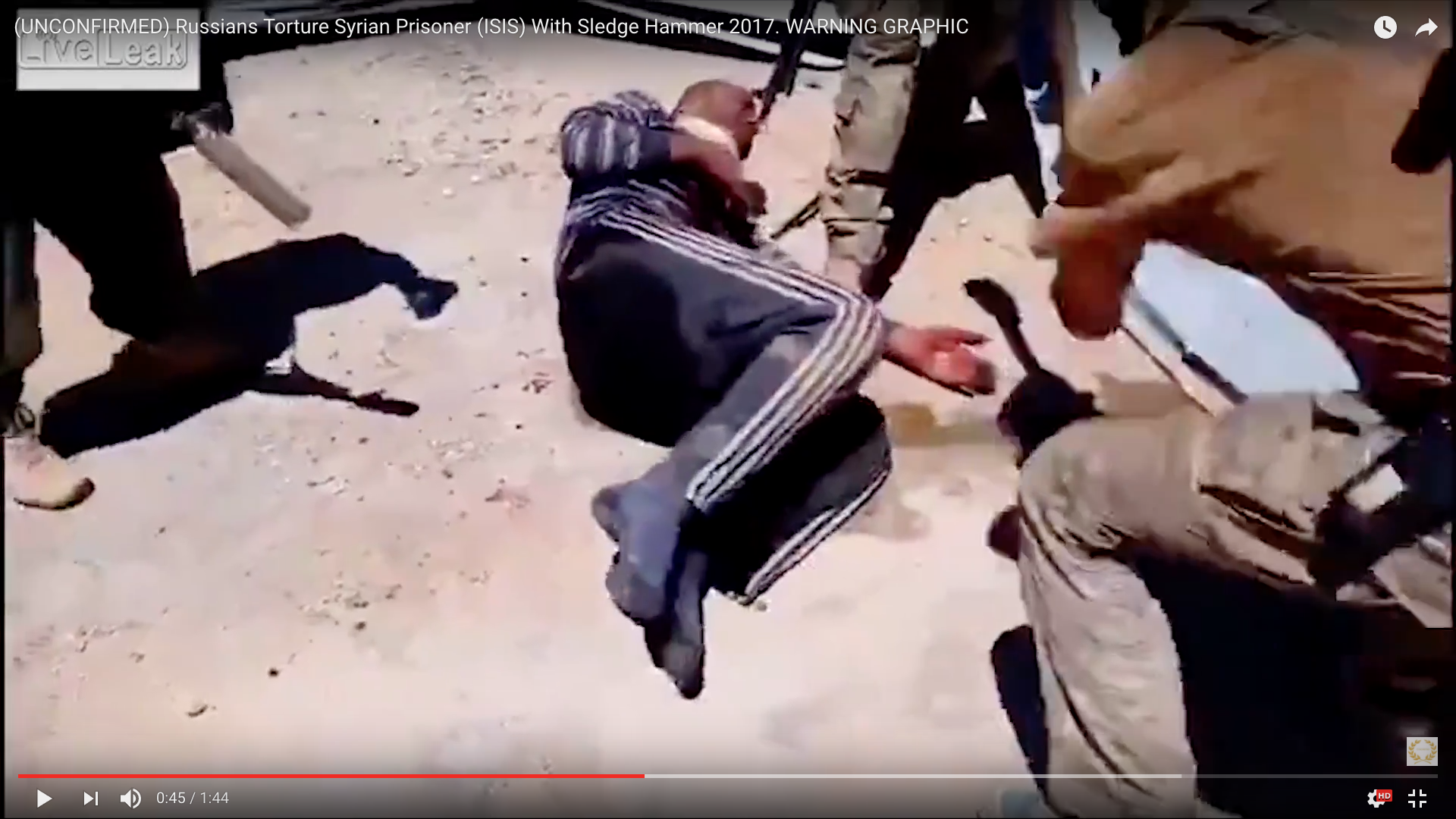 Russians Torture Syrian Prisoner With Sledge Hammer 2017 – To